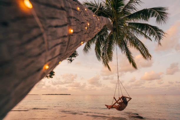 jovem adulta relaxante em um balanço em um paraíso tropical - escapismo - fotografias e filmes do acervo