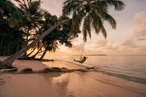 Young adult woman relaxing on a swing in a tropical paradise stock photo