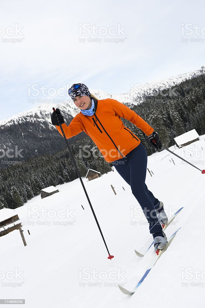 Young adult women at cross country skiing royalty-free stock photo