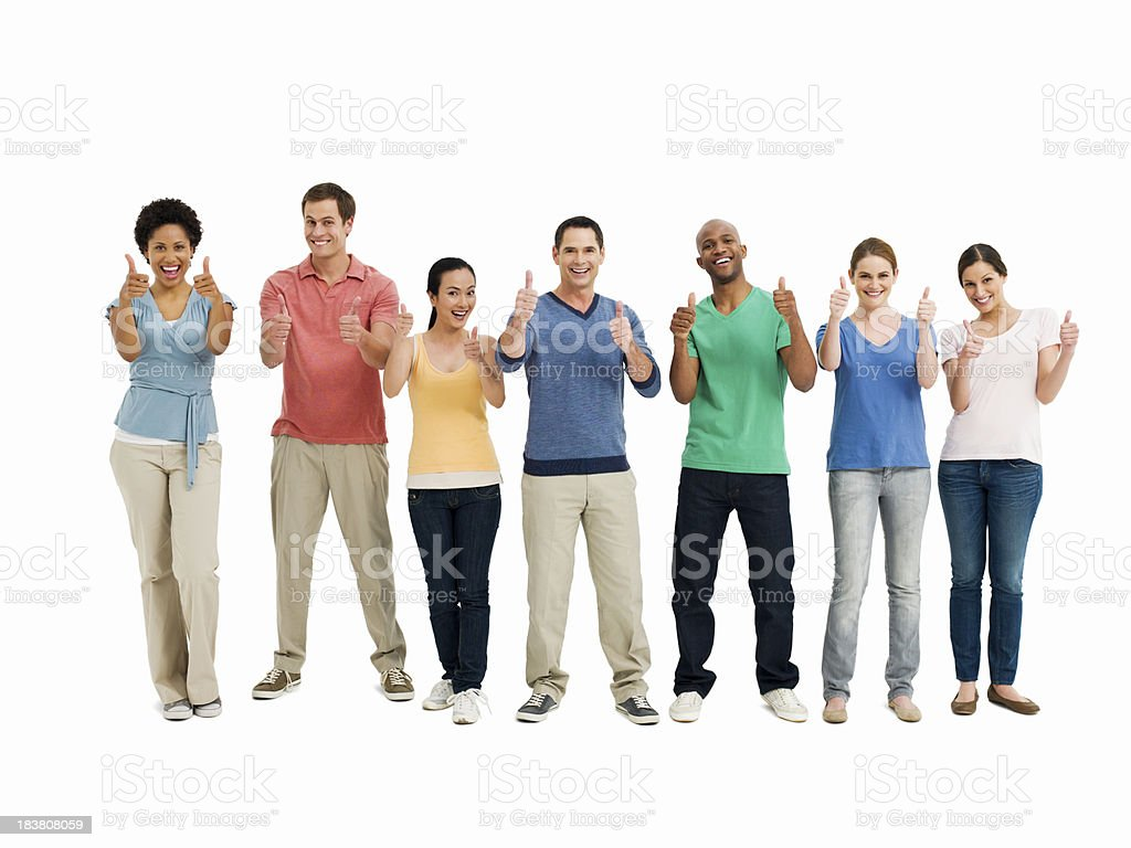 Young Adults Giving the Thumbs Up - Isolated stock photo