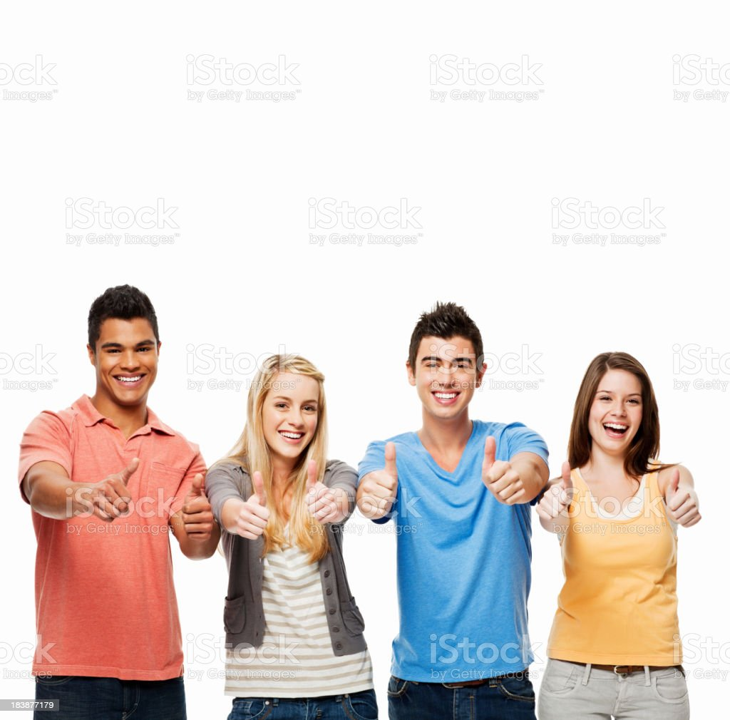 Young Adults Giving Thumbs Up - Isolated royalty-free stock photo