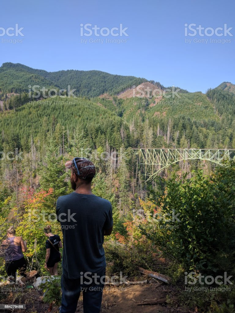 Young Adults hiking in the forest stock photo