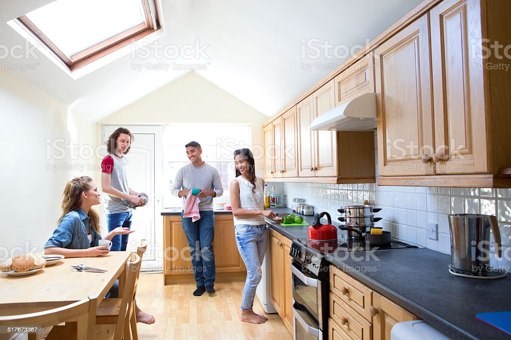 Young Adults in the  Kitchen stock photo