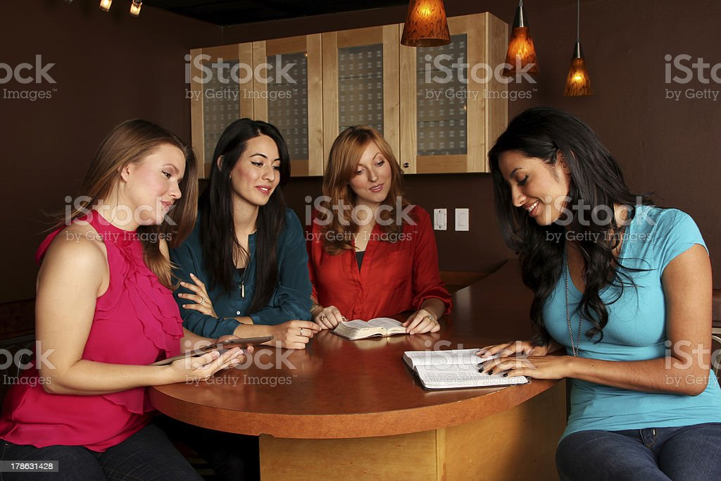 Young Adults Ladies Bible Study stock photo