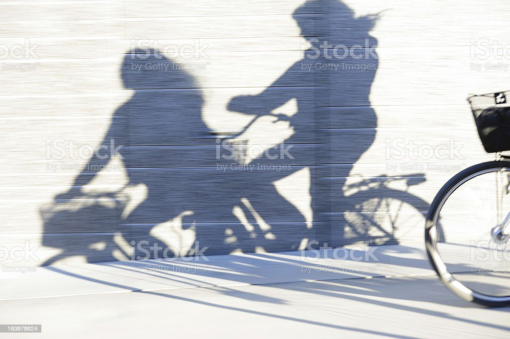 Young adults on bikes in the city royalty-free stock photo