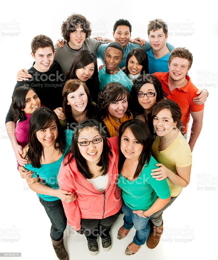 Young Adults Standing Together stock photo