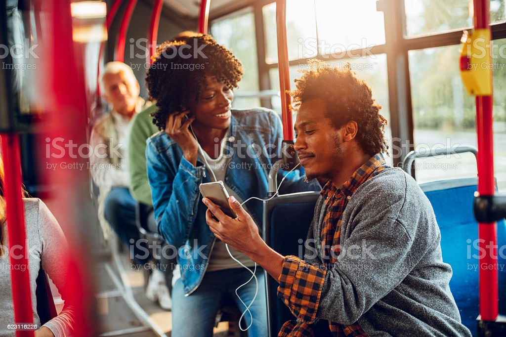 Young adults using a phone stock photo