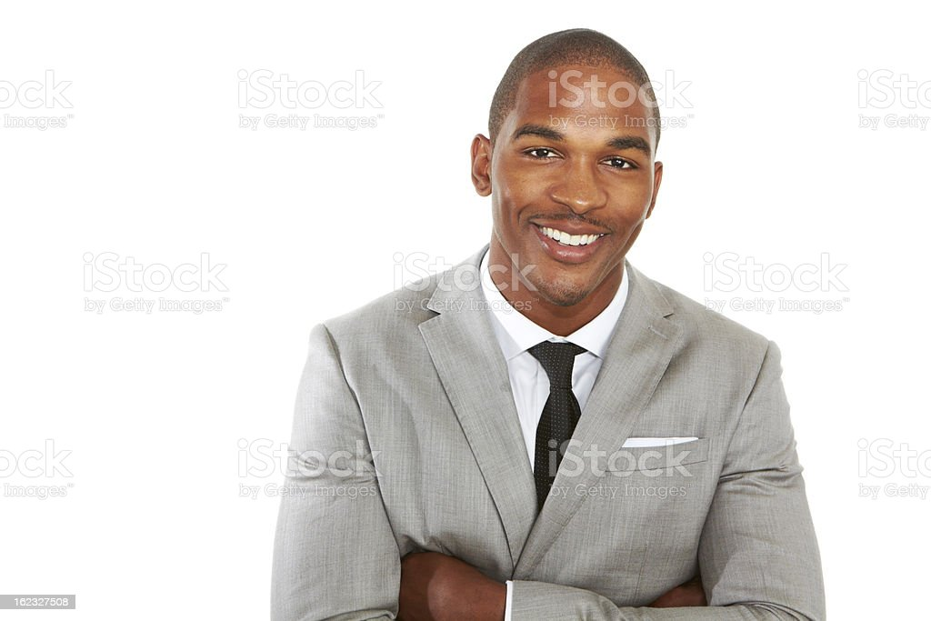 young african american business male smiling stock photo