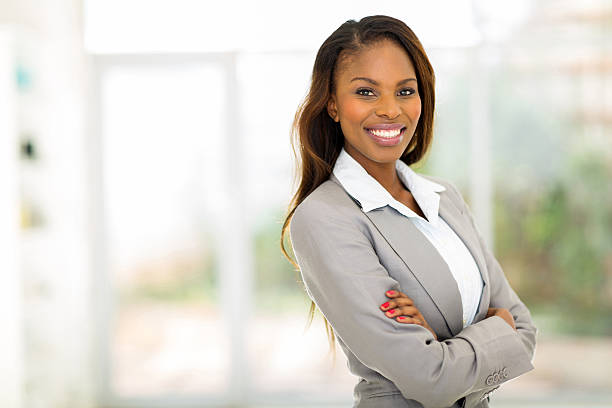young african american businesswoman in office stock photo