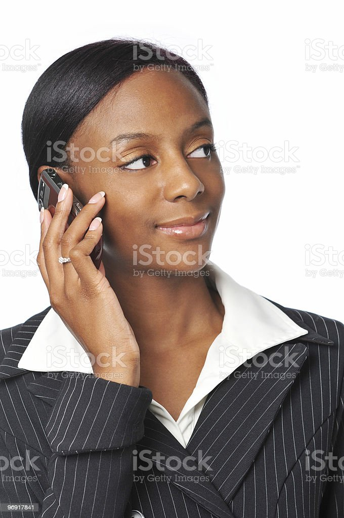 Young African American Businesswoman on the cell phone royalty-free stock photo