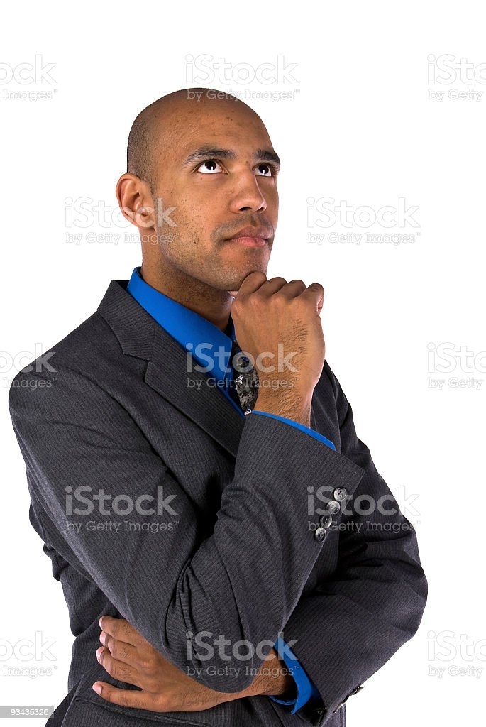 Young African American Male in Thought royalty-free stock photo