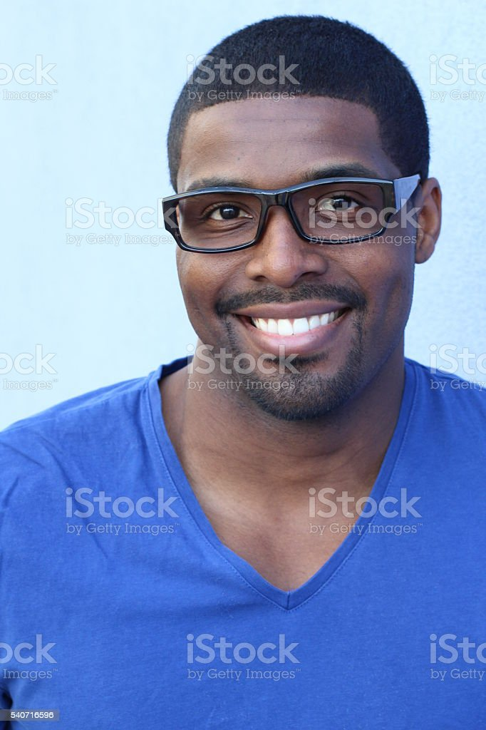Young African American Man Wearing Eyeglasses stock photo