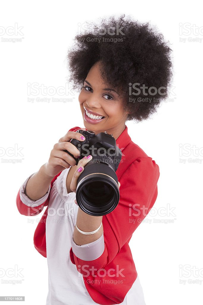 Young african american  photographer with camera stock photo