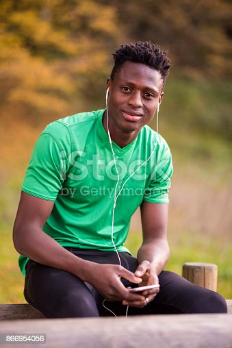 istock Young African American runner 866954056