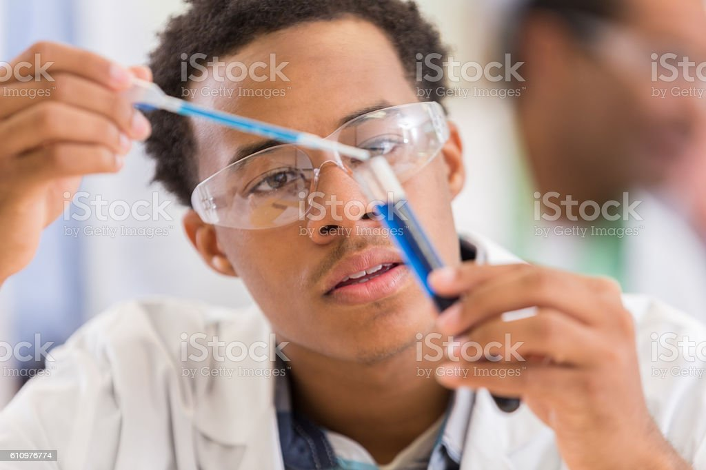 Young African American Scientist Works On Experiment Royalty Free Stock Photo