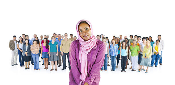 Young African American Standing out from the Crowd stock photo