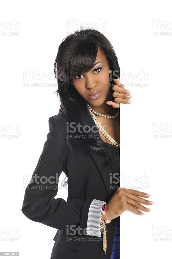 Young African American woman holding blank sign royalty-free stock photo