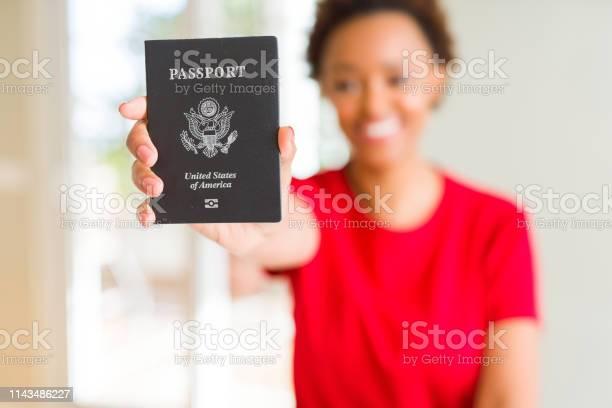 Young african american woman holding passport of united states of a picture id1143486227?b=1&k=6&m=1143486227&s=612x612&h=m6c6j8ni vojwq mijh3j5iiqqpsikejpmb wmjht28=