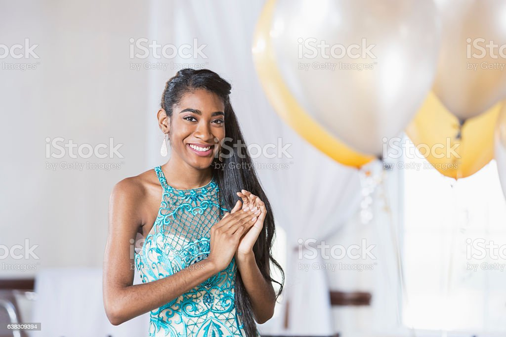Young African American woman in elegant dress stock photo