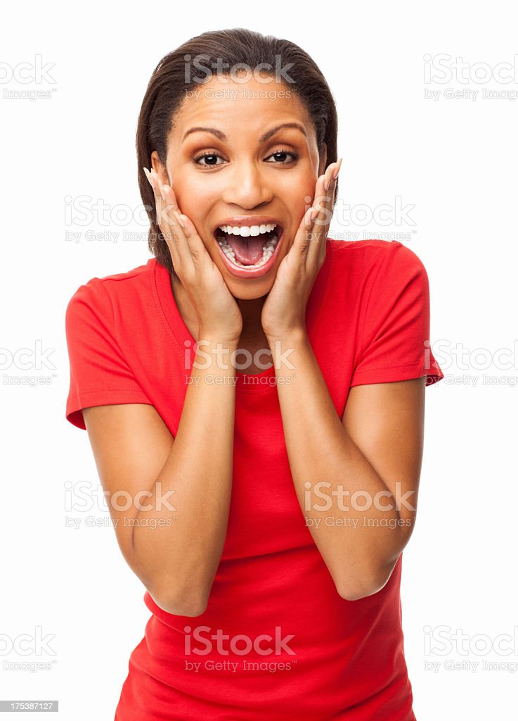Young African American woman looking surprised stock photo
