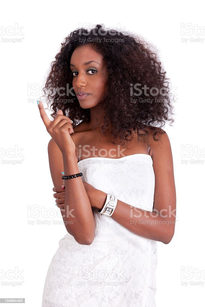 Young African American woman looking up royalty-free stock photo