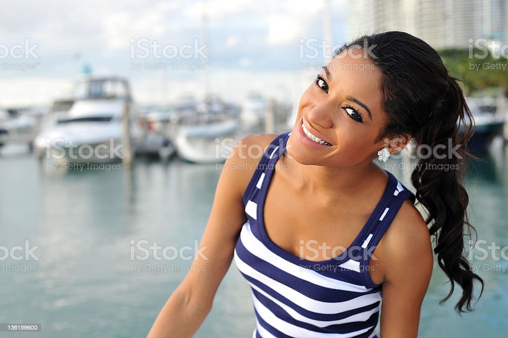 Young African American Woman on Dock royalty-free stock photo