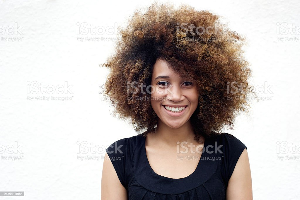 Young african american woman smiling stock photo