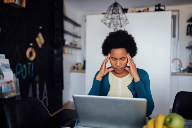 Young African American woman struggling to find a job stock photo