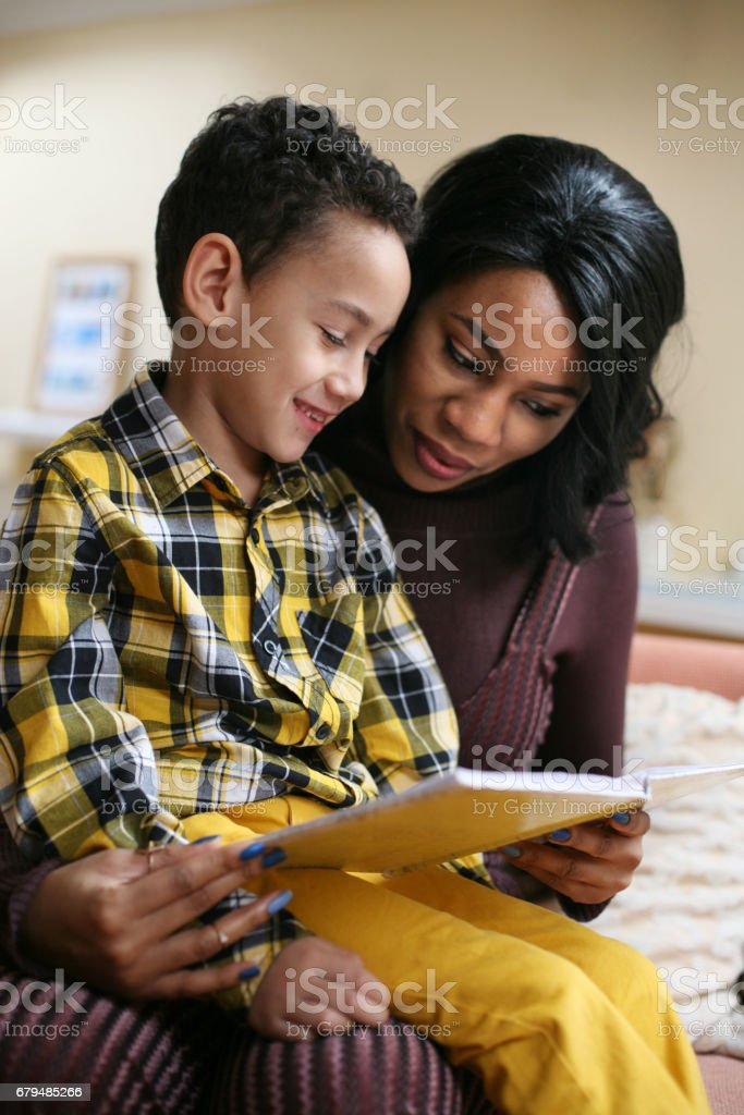 Young African American woman with her son. royalty-free stock photo