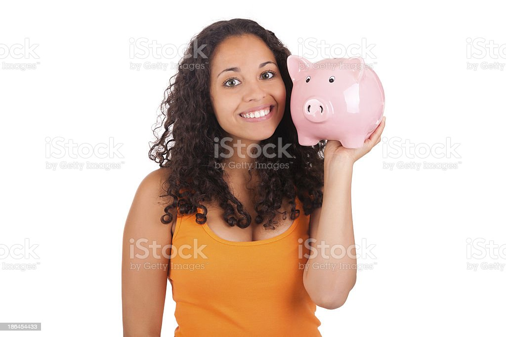 Young african american woman with piggy bank royalty-free stock photo