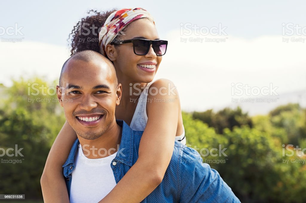 Young african couple in love stock photo