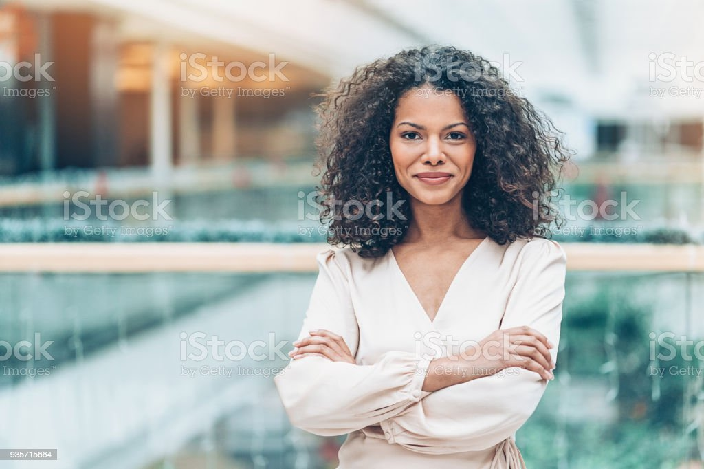 Young African ethnicity businesswoman stock photo