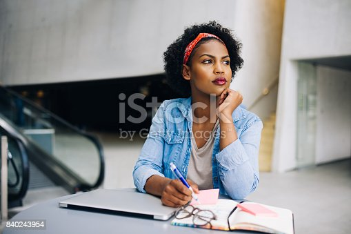 istock Young African female entrepreneur dreaming up new business ideas 840243954