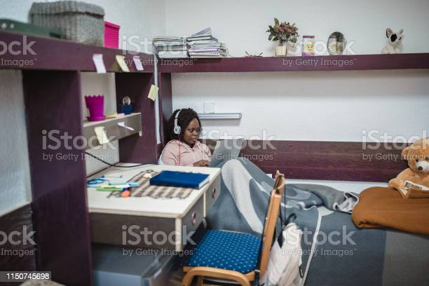 Young african female student relaxing and listening music in a room picture id1150745698?b=1&k=6&m=1150745698&s=612x612&h=fwi2oa5khub ff5wldypfw5shhoqflilceym4uisydq=