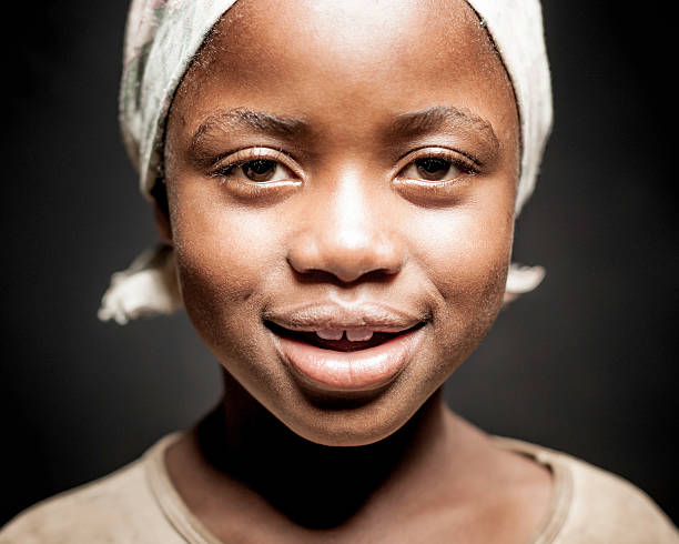 Young African Girl (Isolated on Black) stock photo