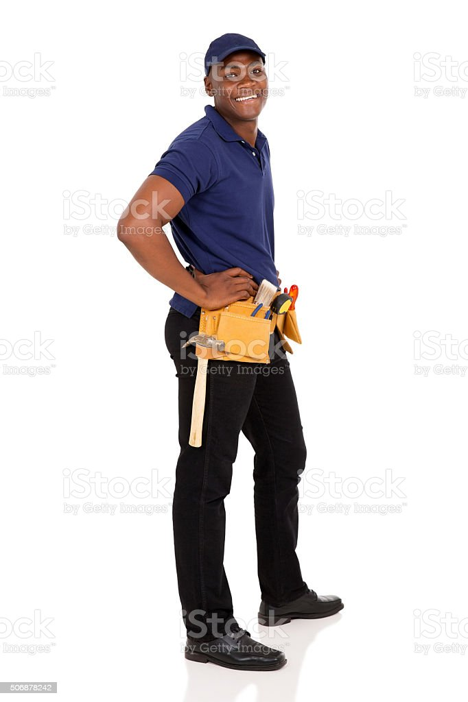 young african handyman stock photo