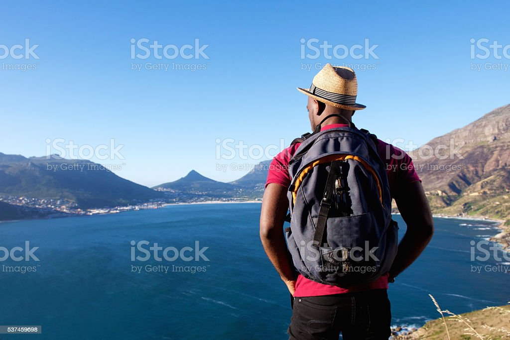 Young african man on holiday stock photo