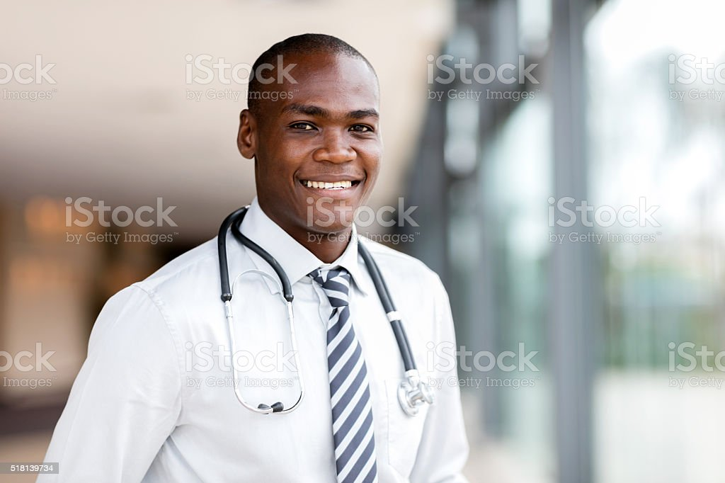 young african medical doctor at hospital stock photo