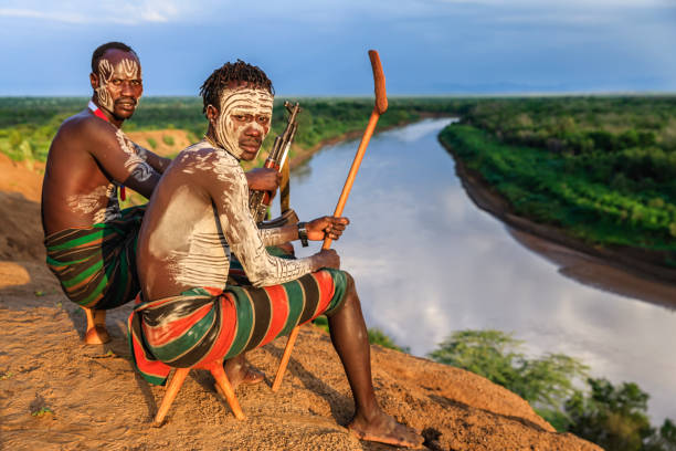 Young African men from Karo tribe, East Africa stock photo