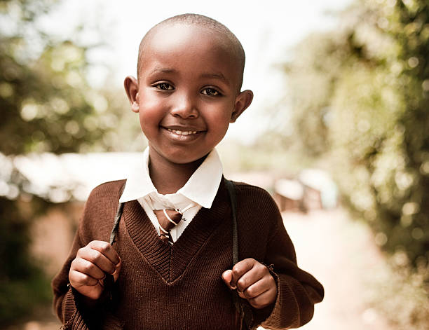 Young African School Boy stock photo