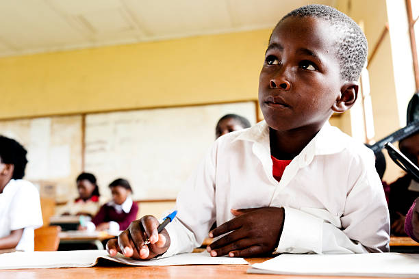 Young African student in Classroom stock photo
