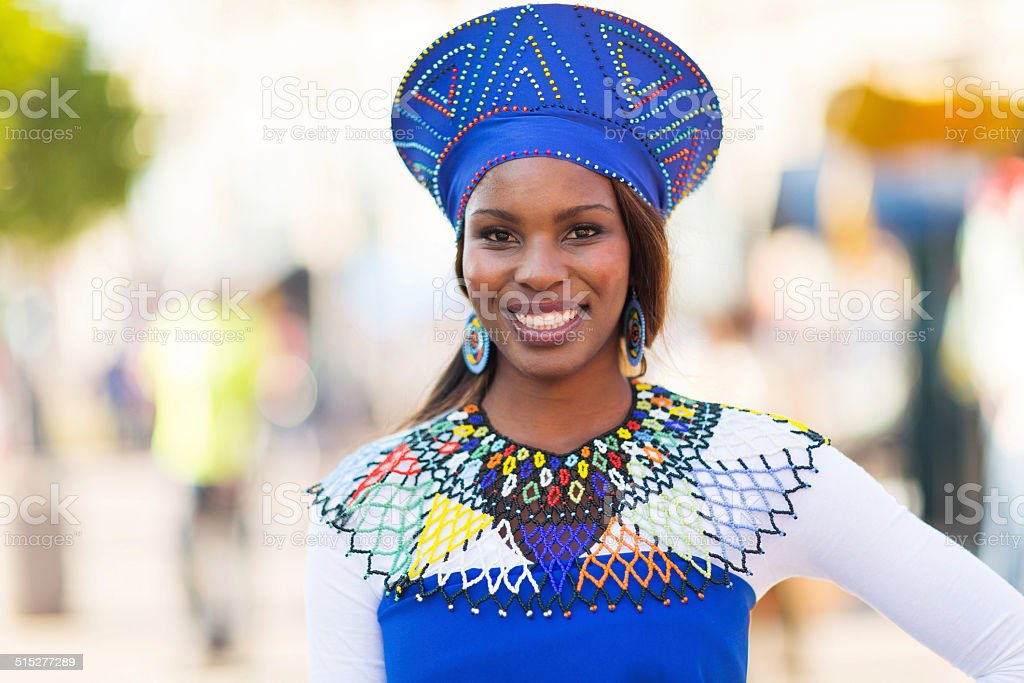 young african woman in traditional clothes stock photo