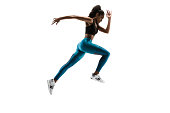 istock Young african woman running or jogging isolated on white studio background. 1135775378
