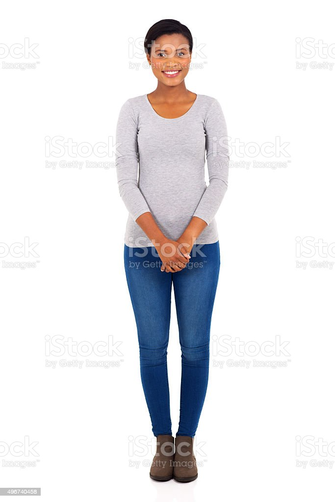 young african woman standing stock photo