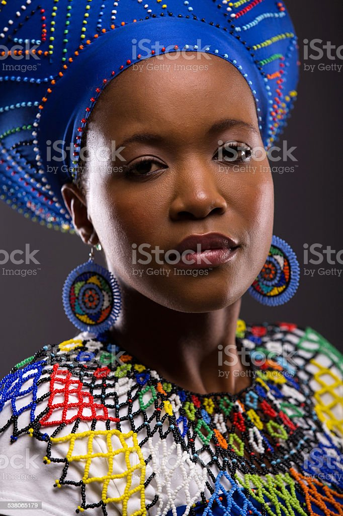 young african zulu lady looking at the camera stock photo