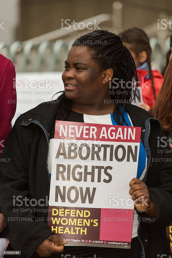 Young african-american girl protesting pro abortion rights stock photo