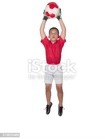 istock Young African-American Soccer Player Jumping 513920469