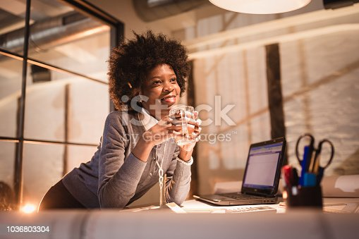 918035432 istock photo Young African-American woman architect working on a project 1036803304