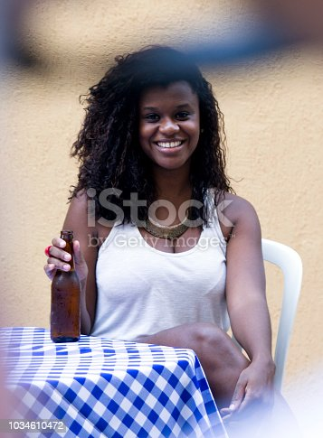 istock Young African-American woman drinking beer 1034610472