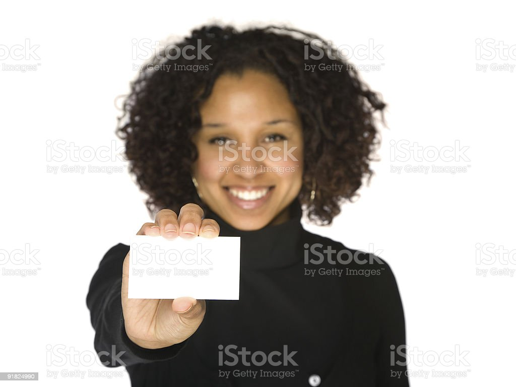 Young African-American Woman Holding Blank Business Card Isolated on White stock photo
